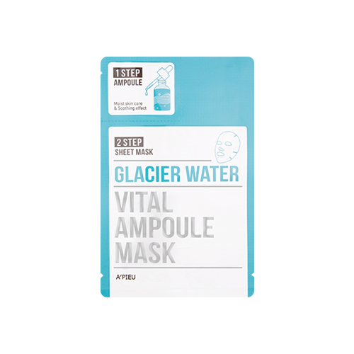 What is it?   The A'Pieu Glacier Water Vital Ampoule Mask is a 2-Step mask that helps remove dead skin cells leaving skin soft and smooth. The Step 1 ampoule soothes stressed and irritated skin while the Step 2 sheet mask provides a boost of hydration to dry skin.   How to use?   1. After cleansing, tone the skin.  2. Apply the Step 1 ampoule all over the face.  3. Apply the Step 2 mask and leave on for 15 to 20 minutes.  4. Remove mask and pat any remaining essence into skin.