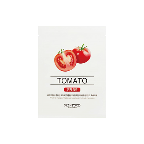 What is it?   The Skinfood Beauty in a Food Mask Sheet (Tomato) contains tomato extract to intensely moisturise the skin and provide a soothing effect. Tomatoes contain lycopene, an antioxidant and anti-inflamatory that helps protect skin from free radicals.   How to use?   1. After cleansing, tone the skin.  2. Apply mask.  3. Leave on for 10 to 20 minutes.  4. Remove mask and pat any remaining essence into skin.