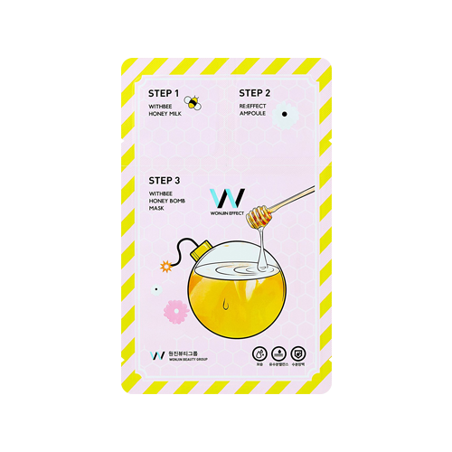 What is it?   The Wonjin Effect Withbee Honey Bomb Mask is a 3-step mask that contains a 6-honey complex that replenishes oil and moisture, restoring glow and smoothing fine lines and wrinkles.   How to use?   1. After cleansing, apply the Step 1 toner.  2. Apply the Step 2 Ampoule  3. Apply the Step 3 Mask, and leave on for 10 to 20 minutes.  4. Remove mask and pat any remaining essence into skin.