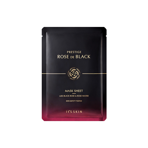 What is it?   The 'It's Skin' Prestige Rose De Black Mask Sheet contains black rose extract, rose water and NMF to help improve the skin's elasiticty and pH balance, while also controlling excess sebum with ingredients like adenosine and niacinamide.   How to use?   1. After cleansing, tone the skin.  2. Apply mask.  3. Leave on for 10 to 20 minutes.  4. Remove mask and pat any remaining essence into skin.