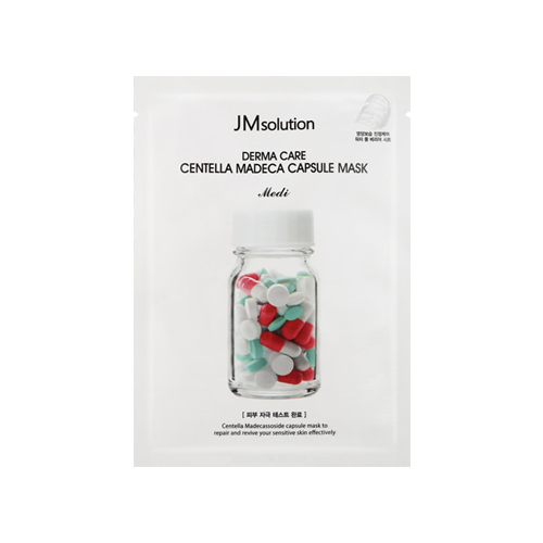What is it?   The JMSolution Derma Care Centella Madeca Capsule Mask contains centella asiatica and madecassoside to help repair and soothe troubled skin.    How to use?   1. After cleansing, tone the skin.  2. Remove protective layer and apply mask.  3. Leave on for 10 to 20 minutes.  4. Remove mask and pat any remaining essence into skin.