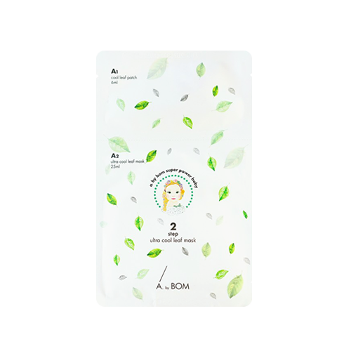 What is it?   The A.by Bom 2-Step Ultra Cool Leaf Mask contains lemon balm, mint leaf and applemint extracts to provide a cooling effect to the skin while also hydrating.   How to use?   1. After cleansing, tone the skin.  2. Apply the Leaf Patches on the areas of the face where intensive care is needed, such as around the eyes or lips.  3. Apply the Ultra Cool Leaf Mask on top of the patches and leave on for 10-20 minutes.  4. Remove mask and pat any remaining essence into skin.
