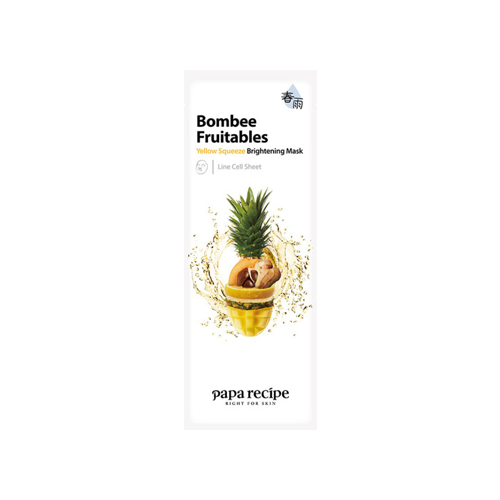 What is it?   The Papa Recipe Bombee Fruitables Yellow Squeeze Brightening Mask contains a complex of 5 extracts, including yuja, mango, pineapple, loquat and ginger to help brighten dull skin tone.   How to use?   1. After cleansing, tone the skin.  2. Apply mask.  3. Leave on for 10 to 20 minutes.  4. Remove mask and pat any remaining essence into skin.