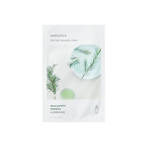 What is it?   The Innisfree My Real Squeeze Tea Tree Mask utilises the potency of tea tree extract to help purify, reduce breakouts and soothe sensitive skin.   How to use?   1. After cleansing, tone the skin.  2. Remove protective film and apply mask.  3. Leave on for 10 to 30 minutes.  4. Remove mask and pat any remaining essence into skin.