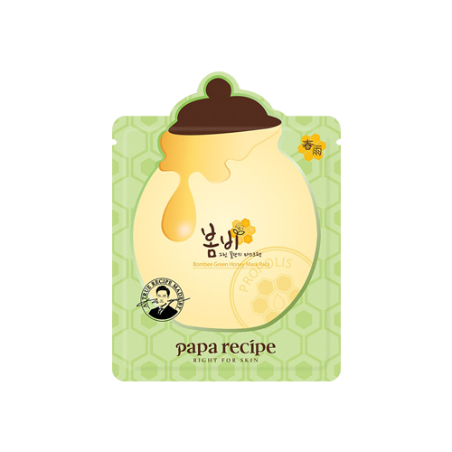 What is it?   The Papa Recipe Bombee Green Honey Mask Pack contains avocado, parsley, propolis and vegetable collagen to replenish moisture in dry skin as well as restore elasticity.   How to use?   1. After cleansing, tone the skin.  2. Apply mask.  3. Leave on for 10 to 20 minutes.  4. Remove mask and pat any remaining essence into skin.