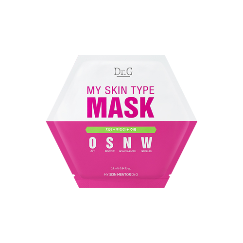 What is it?   The DR.G My Skin Type OSNW Mask is formulated with pine bark extract and filagrinol to help tighten pores, control sebum and soothe oily skin.   How to use?   1. After cleansing, tone the skin.  2. Apply mask.  3. Leave on for 10 to 20 minutes.  4. Remove mask and pat any remaining essence into skin.
