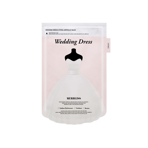 What is it?   The Merbliss Wedding Dress Hydra Ampoule Mask contains sodium hyaluronate, trehalose and betaine to help moisturise and replenish nutrients to the skin.   How to use?   1. After cleansing, tone the skin.  2. Remove the protective film and apply mask.  3. Leave on for 15 to 20 minutes.  4. Remove mask and pat any remaining essence into skin.