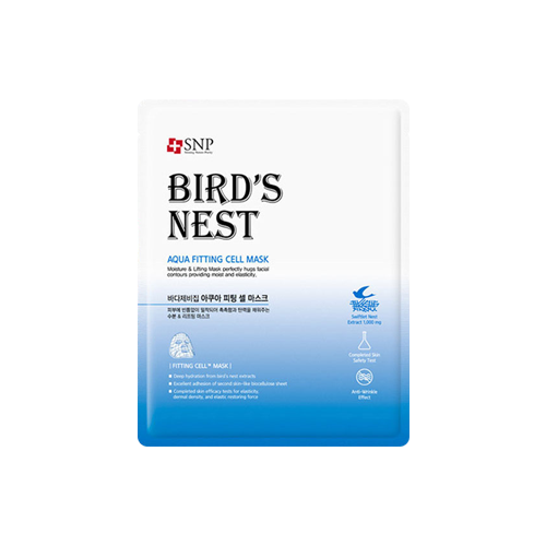 What is it?   The SNP Bird's Nest Aqua Fitting Cell Mask contains marine complex and bird's nest extract to help repair and soothe rough skin, as well as maintain water and oil balance.   How to use?   1. After cleansing, tone the skin.  2. Apply mask.  3. Leave on for 10 to 20 minutes.  4. Remove mask and pat any remaining essence into skin.