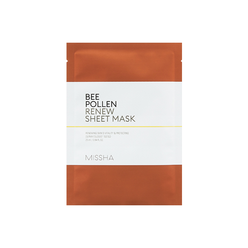 What is it?   The Missha Bee Pollen Renew Sheet Mask contains 43% bee pollen extract to help revitalise dull and tired skin, as well as bamboo extract to deeply hydrate.   How to use?   1. After cleansing, tone the skin.  2. Apply mask.  3. Leave on for 10 to 20 minutes.  4. Remove mask and pat any remaining essence into skin.