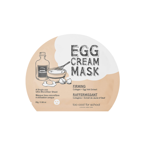 What is it?   The Too Cool For School Egg Cream Firming Mask contains concentrated egg yolk extract and enriched collagen to increase elasticity and firmness in the skin and reduce fine lines.   How to use?   1. After cleansing, tone the skin.  2. Remove the protective mesh and apply mask.  3. Leave on for 10 to 20 minutes.  4. Remove mask and pat any remaining essence into skin.
