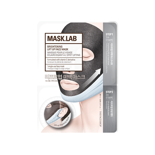 What is it?   The The Face Shop Mask.Lab Brightening Lift Up Face Mask includes an elasticity band for firming, and provides a brightening effect with ingredients like niacinamide and vitamin C.   How to use?   1. After cleansing, tone the skin.  2. Apply mask.  3. Apply the straight side of the lift-up band on your chin and pull it, hooking the straps around your ears. Leave on for 10 to 20 minutes.  4. Remove mask and pat any remaining essence into skin.