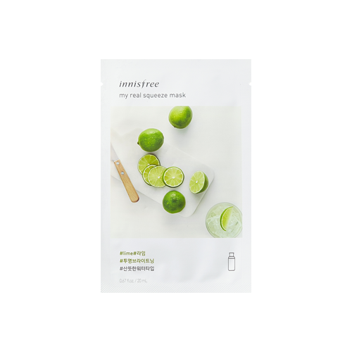 What is it?   The Innisfree My Real Squeeze Lime Mask is enriched with fresh moisture from fresh limes to replenish moisture and brighten dull and dry skin.   How to use?   1. After cleansing, tone the skin.  2. Apply mask.  3. Leave on for 10 to 20 minutes.  4. Remove mask and pat any remaining essence into skin.