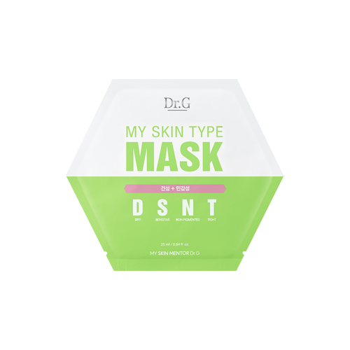 What is it?   The DR.G My Skin Type DSNT Mask contains pine bark extract to moisturise and soothe dry and sensitive skin, as well as activated filaggrin ingredients to protect the skin barrier.   How to use?   1. After cleansing, tone the skin.  2. Apply mask.  3. Leave on for 10 to 20 minutes.  4. Remove mask and pat any remaining essence into skin.
