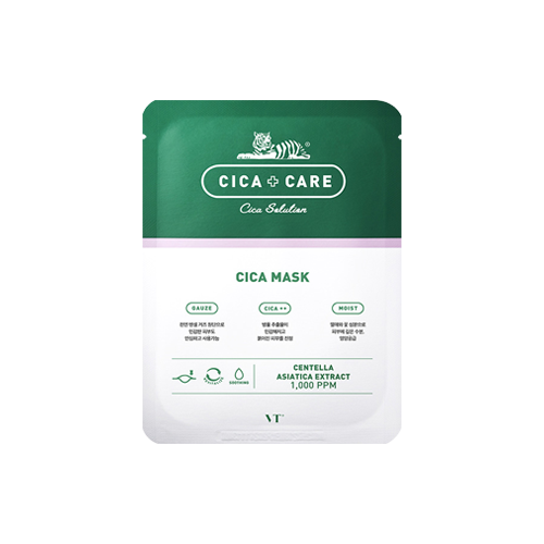 What is it?   The VT Cosmetics Cica Care Sheet Mask contains a high concentration of centella asiatica extract to calm the skin, as well as reduce irritation and redness.   How to use?   1. After cleansing, tone the skin.  2. Remove the protective film and apply mask.  3. Leave on for 10 to 20 minutes.  4. Remove mask and pat any remaining essence into skin.