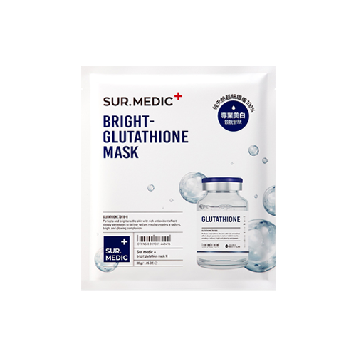 What is it?   The Sur.Medic Bright Glutathione Mask is an intensive brightening mask that helps to restore radiance to dull skin, deeply hydrate, as well as improve elasticity.   How to use?   1. After cleansing, tone the skin.  2. Apply mask.  3. Leave on for 10 to 15 minutes.  4. Remove mask and pat any remaining essence into skin.