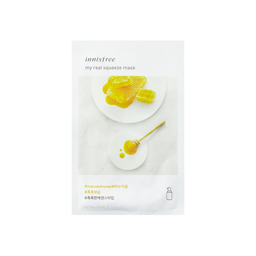 What is it?   This Innisfree My Real Squeeze Mask is enriched with nourishing manuka honey and Jeju green complex to help replenish moisture to dry, rough skin.   How to use?   1. After cleansing, tone the skin.  2. Apply mask.  3. Leave on for 10 to 20 minutes.  4. Remove mask and pat any remaining essence into skin.