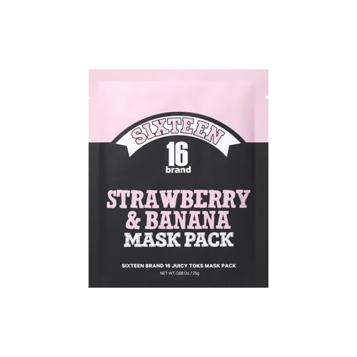What is it?   The 16Brand Juicy Toks Strawberry and Banana Mask Pack contains fruits extracts, as well as paprika, carrot and cabbage extracts to nourish the skin and help to even out skin tone.   How to use?   1. After cleansing, tone the skin.  2. Apply mask.  3. Leave on for 10 to 20 minutes.  4. Remove mask and pat any remaining essence into skin.