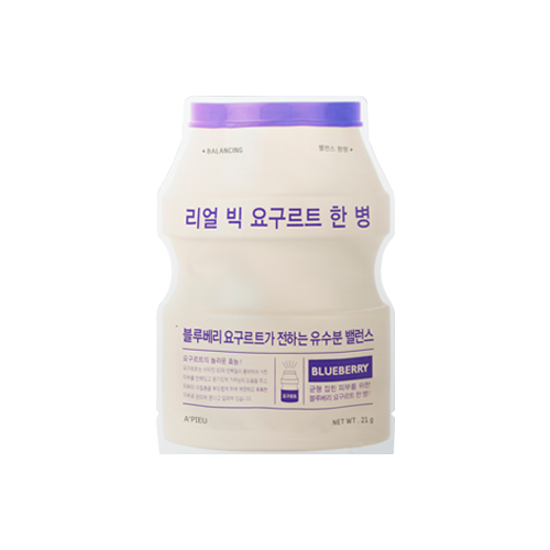 What is it?   The A'Pieu Real Big Yogurt One Bottle Sheet Mask contains yogurt, lactobacillus ferment filtrate and blueberry extracts to hydrate and protect the skin from premature ageing.   How to use?   1. After cleansing, tone the skin.  2. Apply mask.  3. Leave on for 15 to 20 minutes.  4. Remove mask and pat any remaining essence into skin.