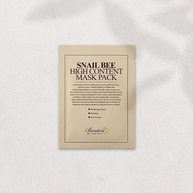 The Benton Snail Bee High Content Mask Pack contains snail filtrate and bee venom to help reduce wrinkles, as well as hydrate, brighten and soothe. 🐌 (featured in our September box) ⠀⠀ ⠀⠀ ⠀⠀⠀⠀⠀ ⠀ #fashion #lifestyle #flatlay #beauty #sheetmask #mask #facemask #kbeauty #koreanskincare #cosmetics #skin #bbloggers #bblogger #skincare #spa #pamper #products #flatlays #beautybox #subscriptionbox #skincareroutine #hydrating #glow #facial #beautybloggers #instabeautyau #bbloggersau #benton
