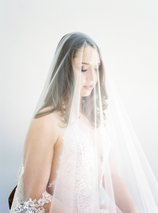 Bridal portrait with veil.