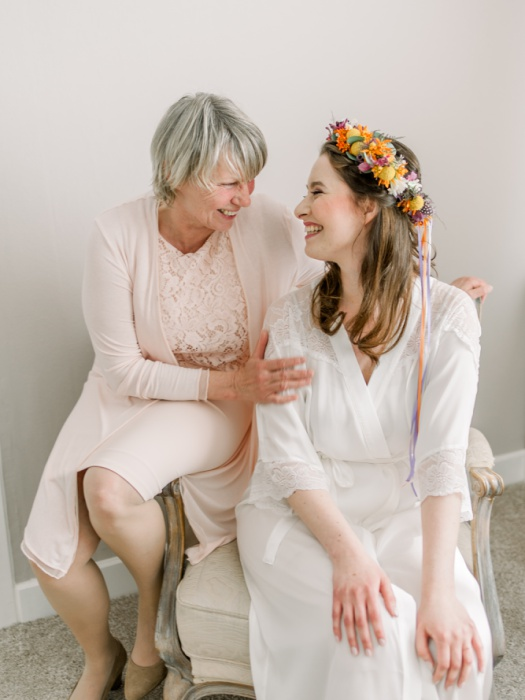 Mother and daughter portrait on a wedding day