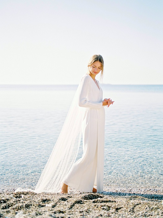 Portrait of a bride at a destination wedding in Greece