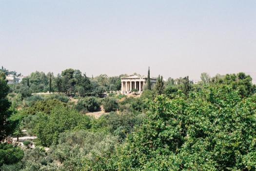 View of the Temple of Hephaestus in Athens, Greece