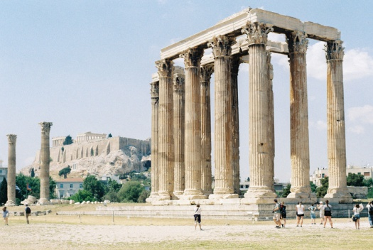 Temple of Zeus with the Parthenon of Athens in the background