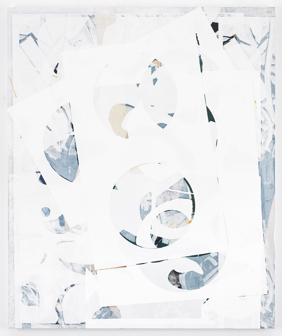 Composite 2 (white stack), 2016  Acrylic, oil and UV cured ink on canvas over aluminum  48 x 40 inches  121.9 x 101.6 cm