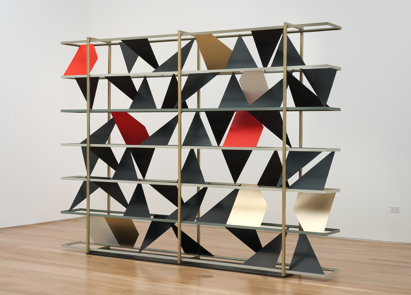 Untitled (screen), 2011-2012  Powder coated steel, brass plated steel and enamel  84 x 120 x 12 inches  213.36 x 304.8 x 30.48 cm