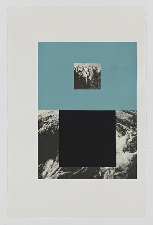 Screen (mountain stream), 2009  Gouache on archival pigment print on watercolor  paper  40 x 26 inches  101.6 x 66.04 cm