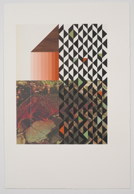 Screen (fox), 2009  Gouache, collage and pencil on archival pigment  print on watercolor paper  38.5 x 26 inches  97.79 x 66.04 cm