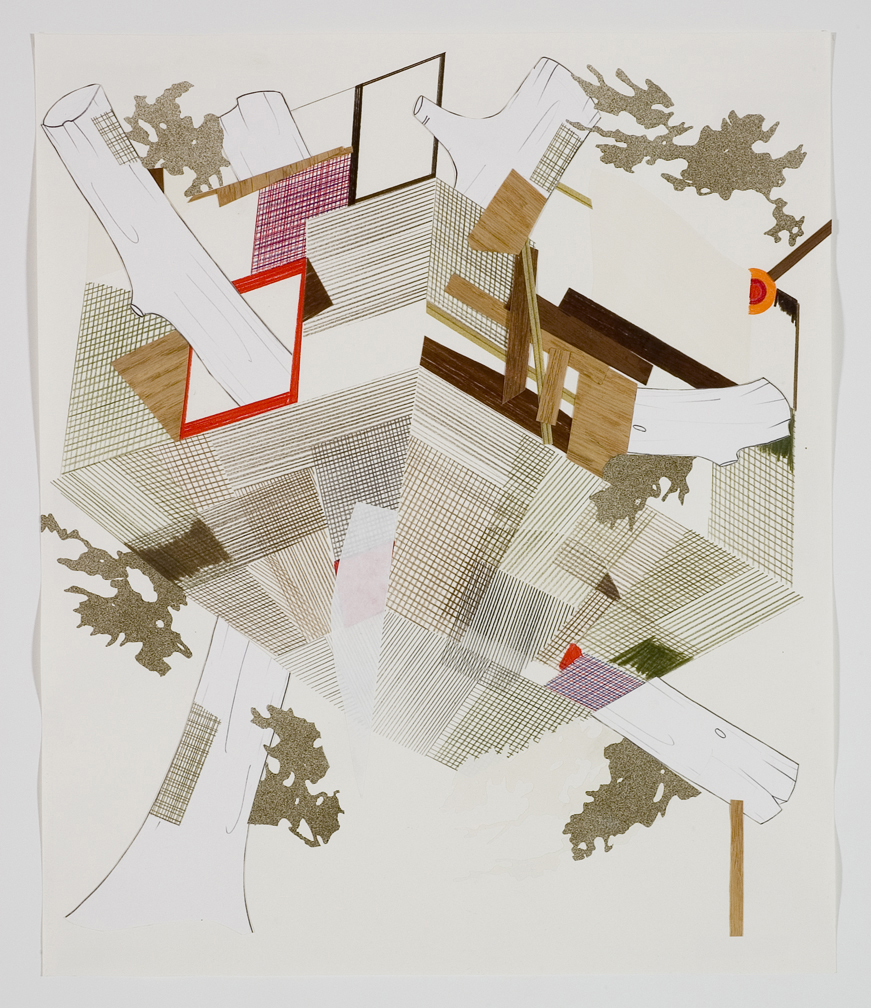 Houses & Timbers 25, 2006  Pencil, gouache and collage on paper  17 x 14 inches  43.18 x 35.56 cm