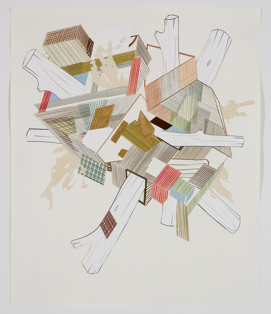 Houses & Timbers 26, 2006  Pencil, gouache and collage on paper  17 x 14 inches  43.18 x 35.56 cm