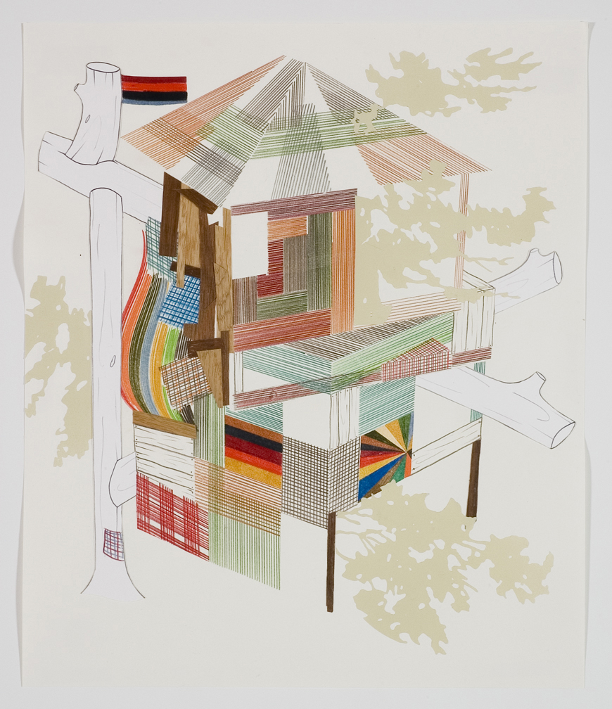 Houses & Timbers 28, 2006  Pencil, gouache and collage on paper  17 x 14 inches  43.18 x 35.56 cm