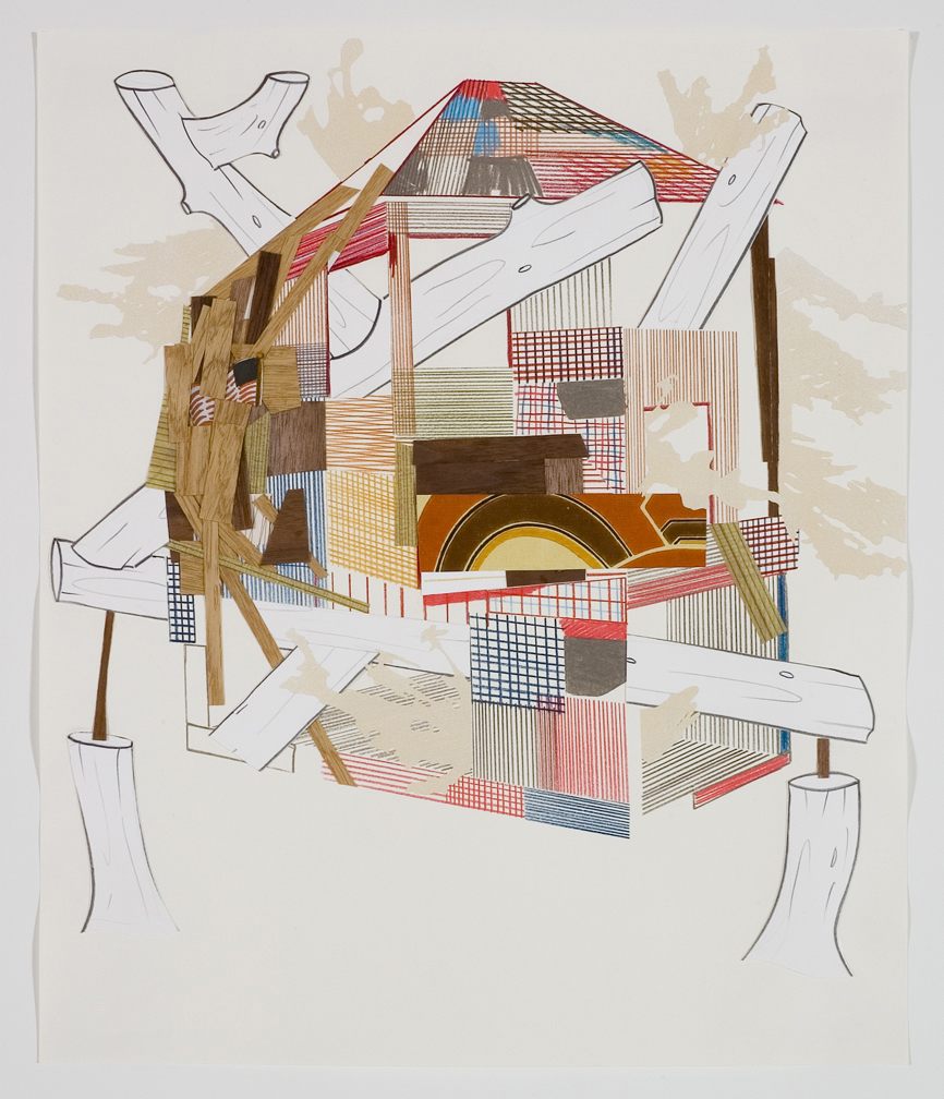 Houses & Timbers 30, 2006  Pencil, gouache and collage on paper  17 x 14 inches  43.18 x 35.56 cm