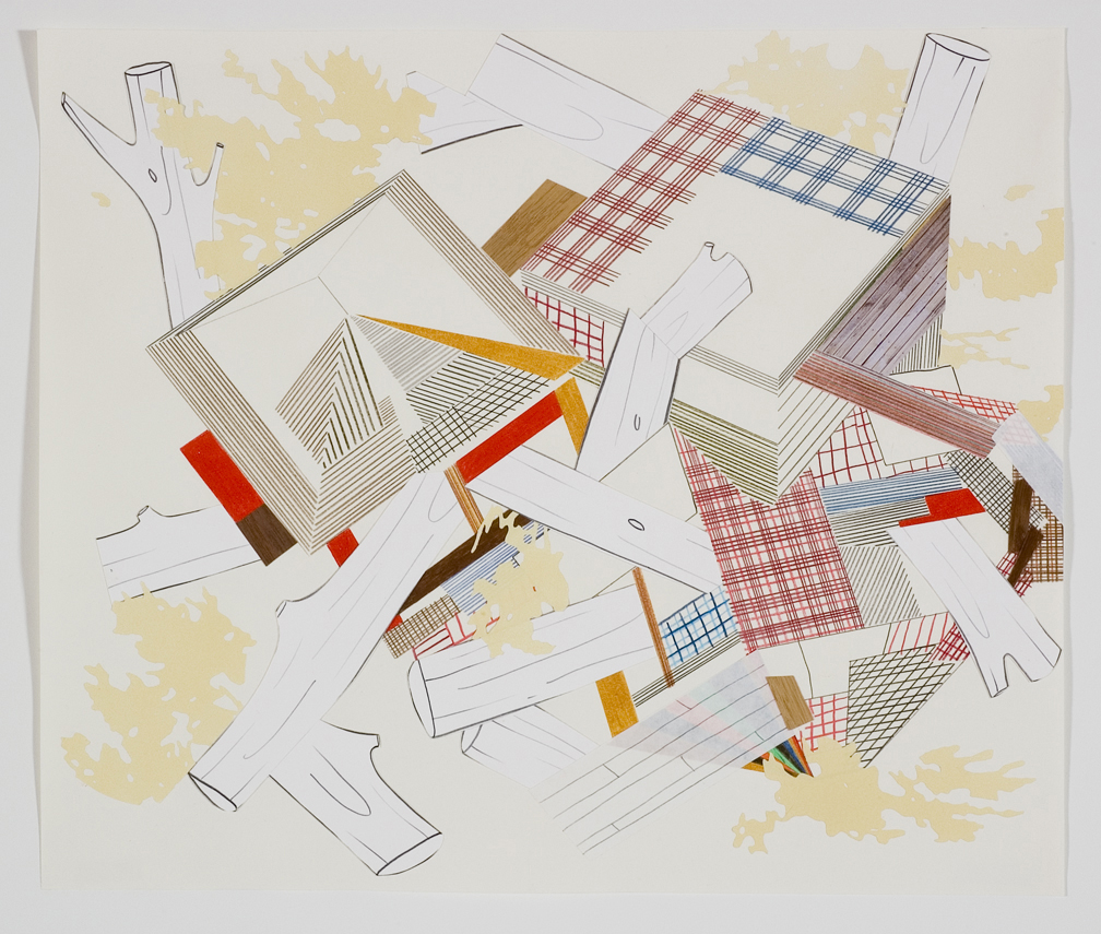 Houses & Timbers 33, 2006  Pencil, gouache and collage on paper  17 x 14 inches  43.18 x 35.56 cm
