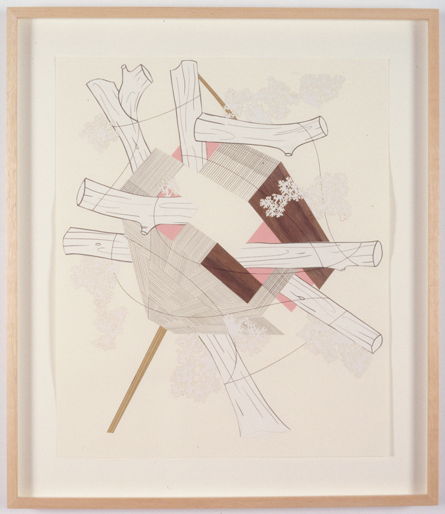 Houses & Timbers 14 (Kickstand), 2004  Pencil, gouache and collage on paper  17 x 14 inches  43.18 x 35.56 cm