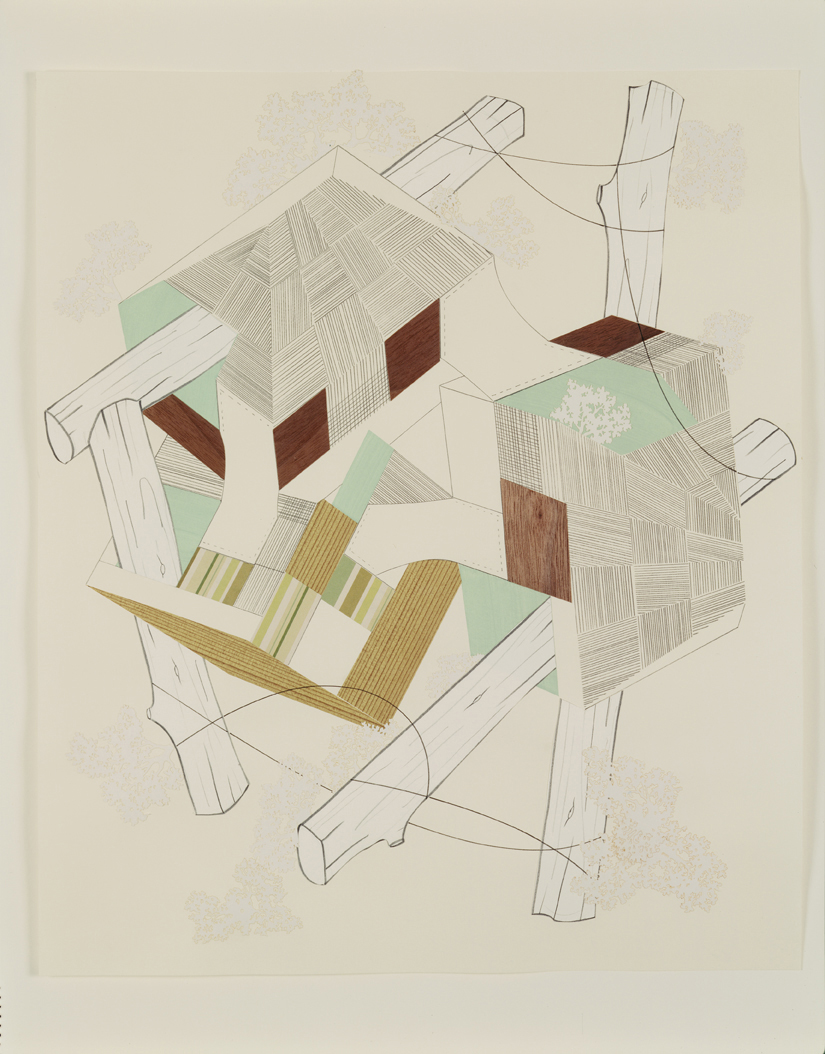 Houses & Timbers 16, 2004  Pencil, gouache and collage on paper  17 x 14 inches  43.18 x 35.56 cm
