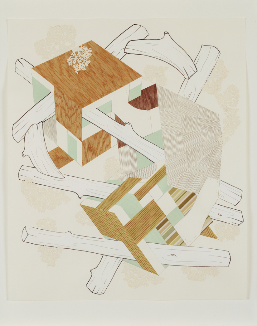 Houses & Timbers 17, 2004  Pencil, gouache and collage on paper  17 x 14 inches  43.18 x 35.56 cm