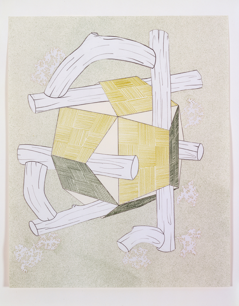 Roofs & Timbers 2, 2004  Pencil, gouache and collage on paper  14 x 11 inches  35.56 x 27.94 cm