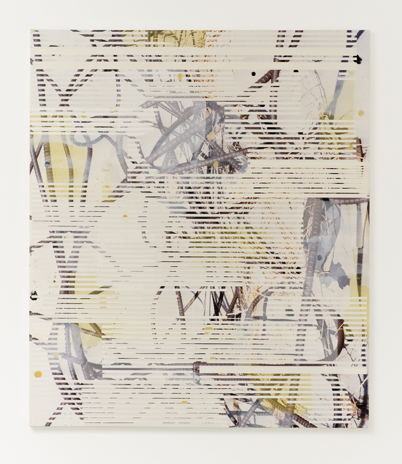 Untitled (rebar 2), 2013  Acrylic, oil and UV cured ink on canvas over panel  84 x 72 inches  213.36 x 182.88 cm