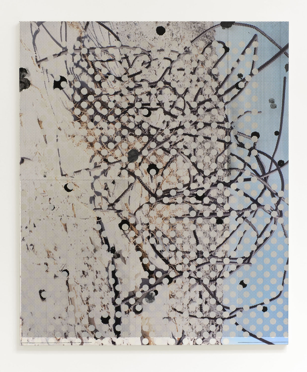 Untitled (rebar 4), 2013  Acrylic, oil and UV cured ink on canvas over panel  65 x 54 inches  165.1 x 137.16 cm