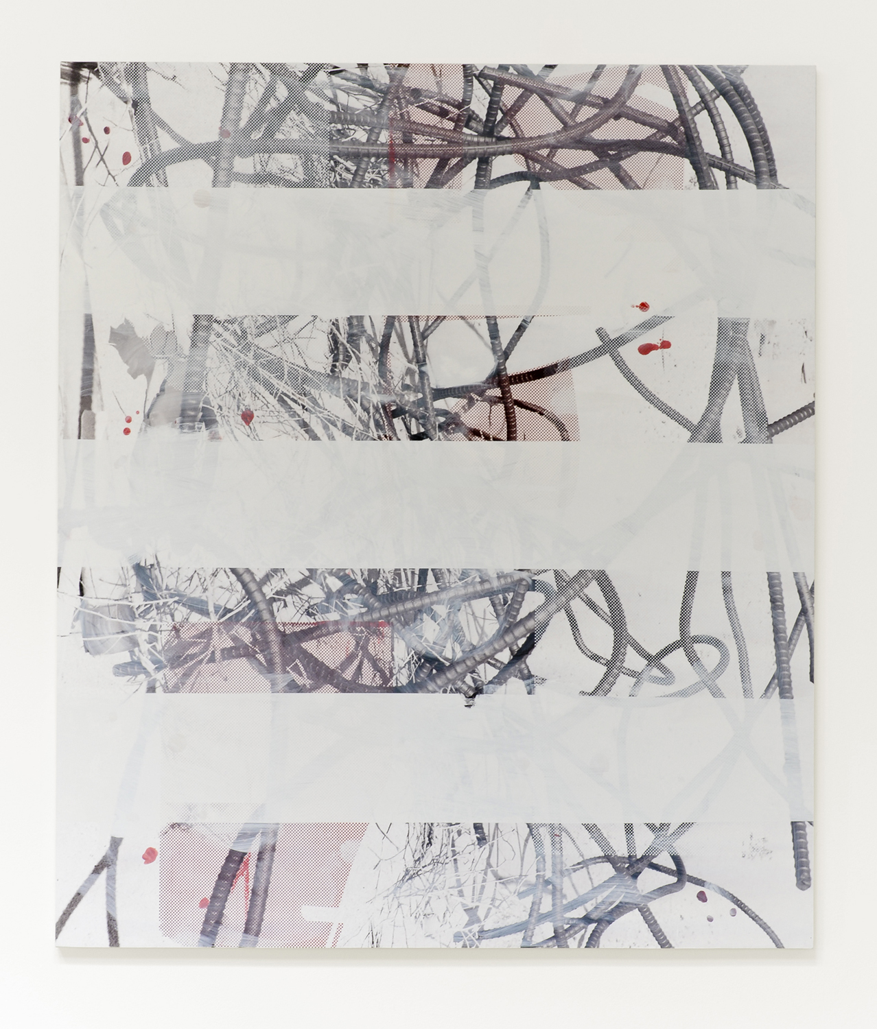 Untitled (rebar 3), 2013  Acrylic, oil and UV cured ink on canvas over panel  84 x 72 inches  213.36 x 182.88 cm