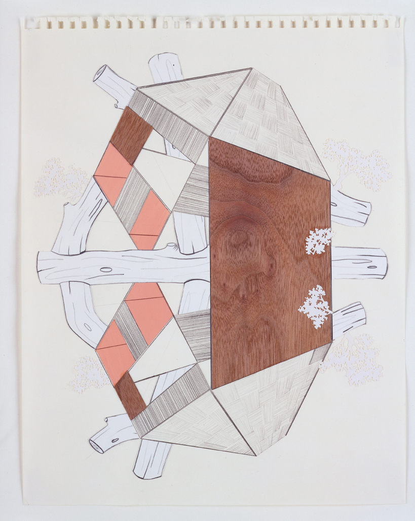 Two Houses & Timbers, 2003  Pencil, gouache and collage on paper  14 x 11 inches  35.56 x 27.94 cm