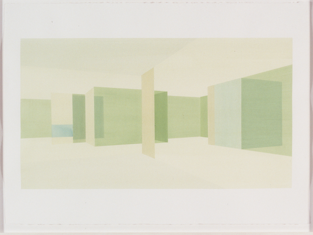 Interior Study South (View From Court),  1999 Liquid acrylic on paper  22 x 30 inches  55.88 x 76.2 cm