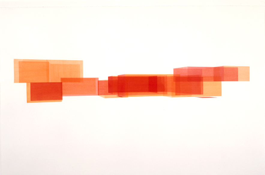 House: South Rotation Red 2 (North View), 2000  Liquid acrylic on paper  26 x 40 inches  66.04 x 101.6 cm
