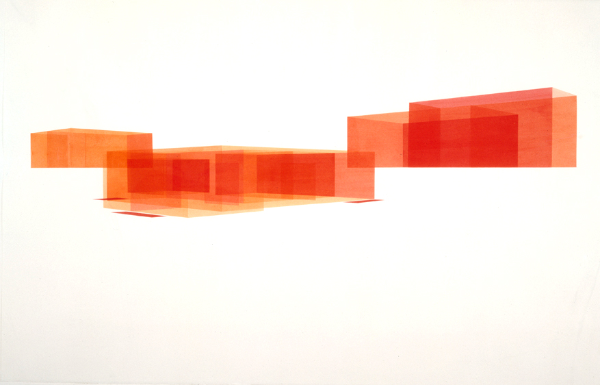 House: South Rotation Red 3 (Northwest View), 2000  Liquid acrylic on paper  26 x 40 inches  66.04 x 101.6 cm