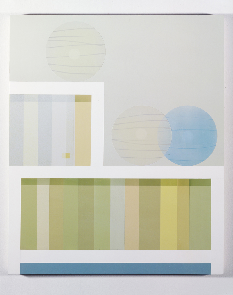 Bookcase with Paper Lamps, 1998  Acrylic on canvas over panel  36 x 30 inches  91.44 x 76.2 cm