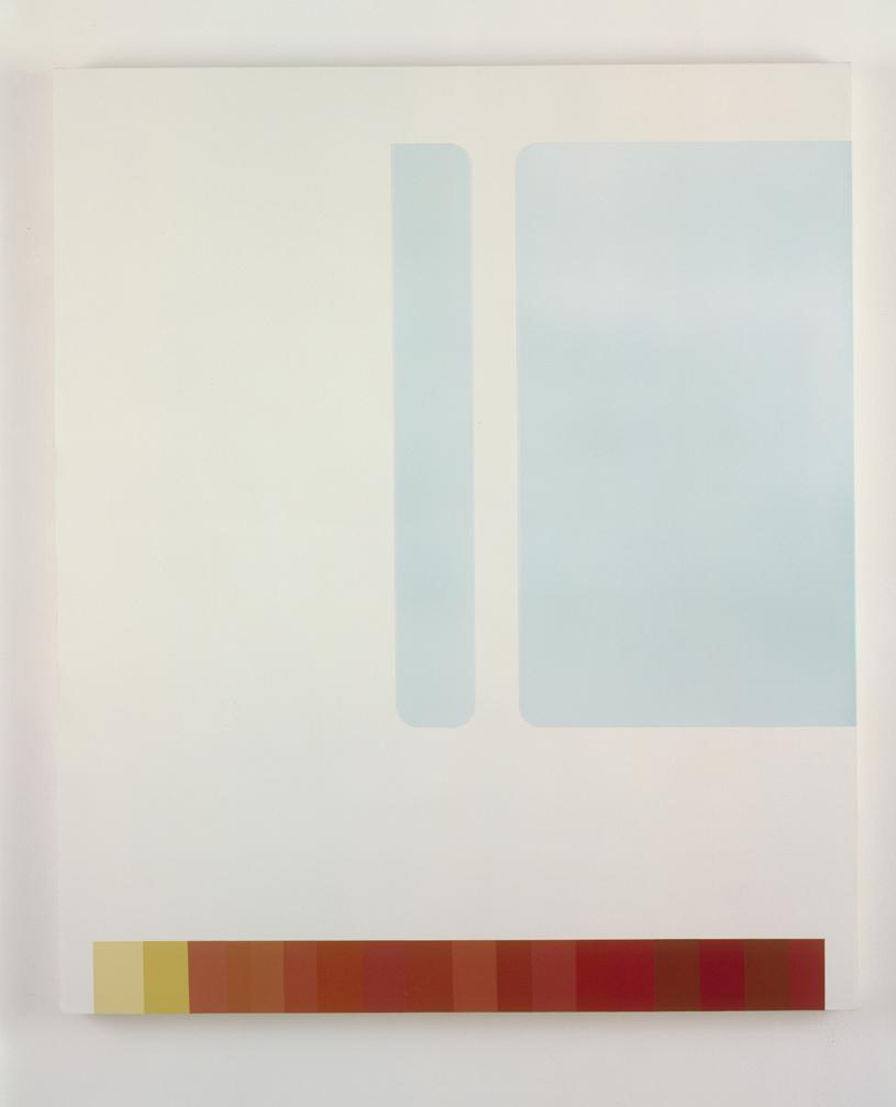 Custom Windows Over Books, 1998  Acrylic on canvas over panel  42 x 35-1/2 inches  106.68 x 90.17 cm